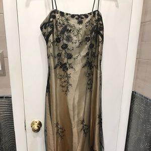 Totally Unique Black Tule over Gold Dress